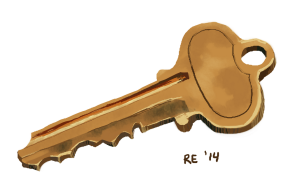 Deadbolt Key Digital Painting by Ruthie Edwards