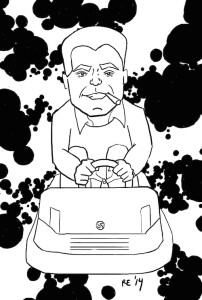 "Jack Kirby in a bumper car with ""Kirby crackle"""