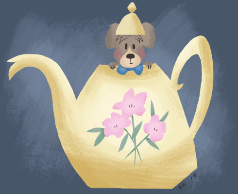 Mouse Teapot Mary Blair Style by Ruthie Edwards