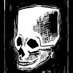 Frankenstein Skull Linocut Ruthie Edwards
