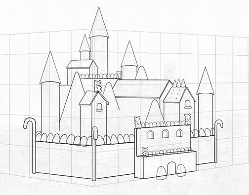 Candy Castle Drawing Progress For Candy Castle