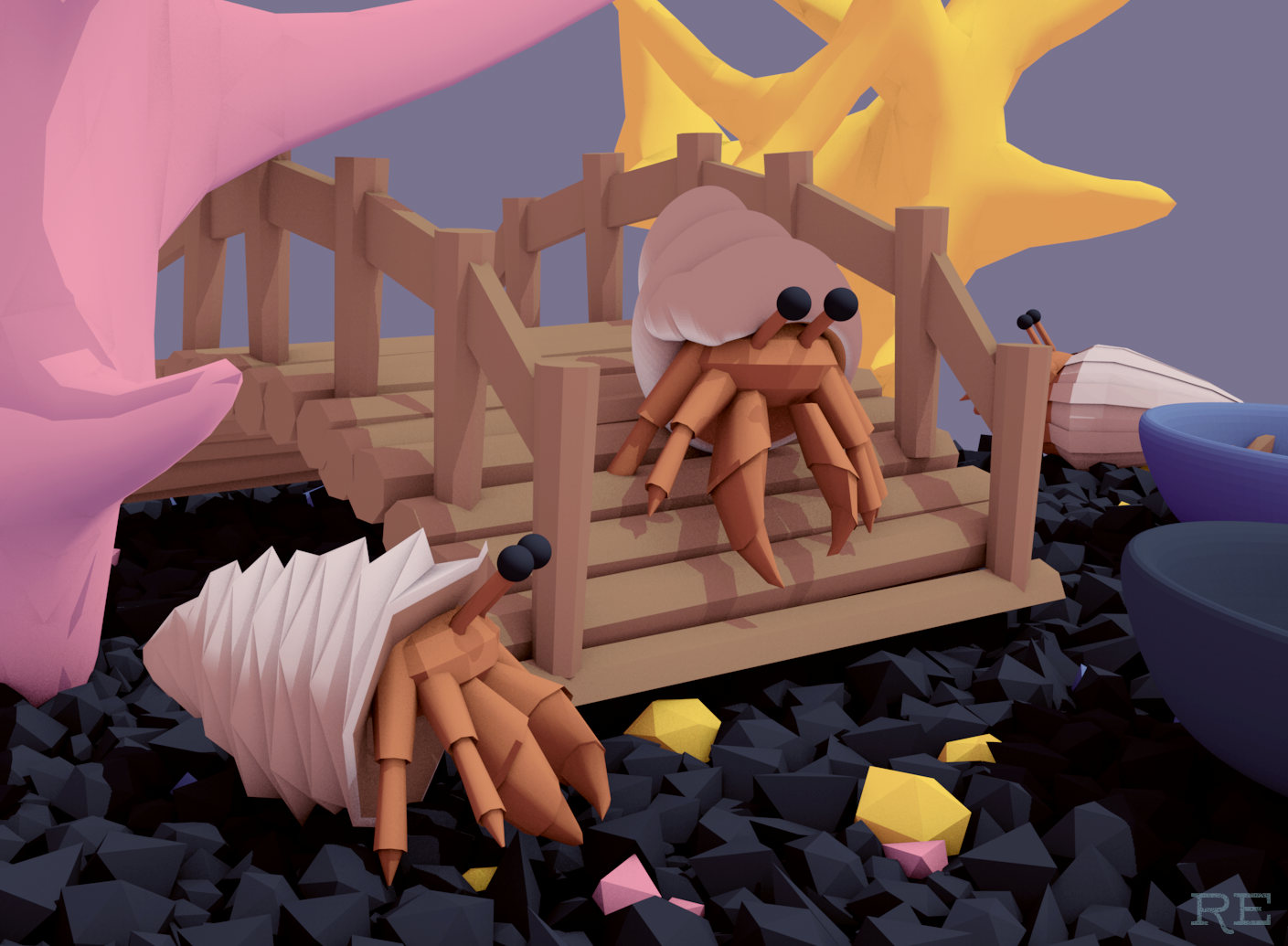 cinema 4d hermit crabs low-poly