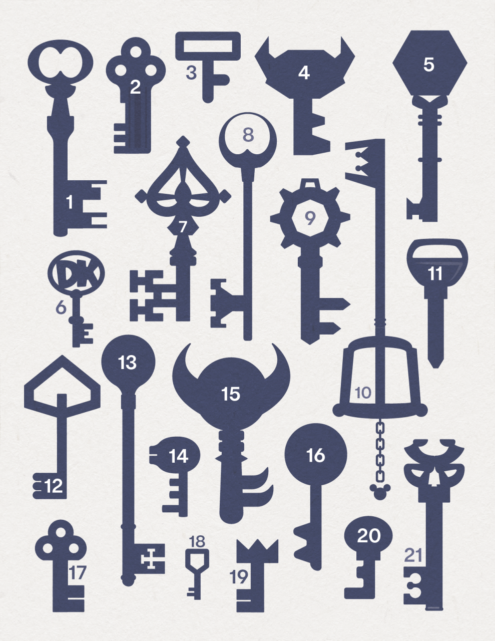 video game key silhouettes
